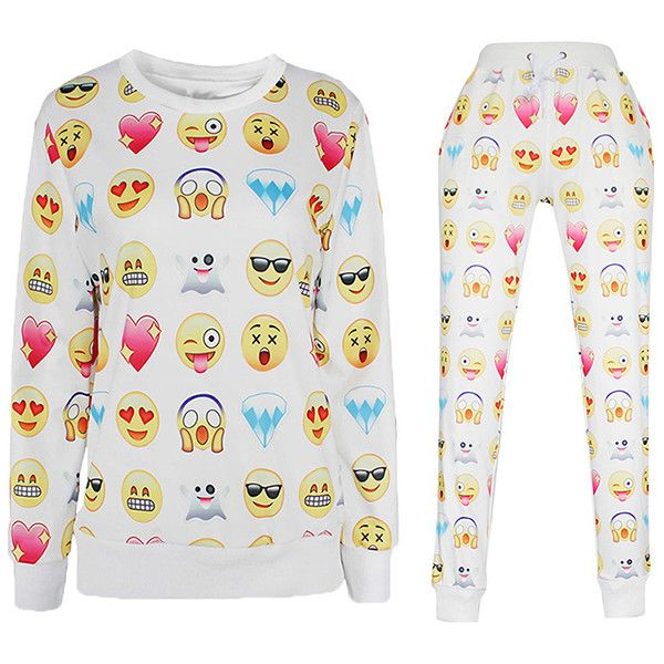 White Ladies Cartoon Faces Printed Pullover Sweatshirt Pants Set (310 NOK) ❤ liked on Polyvore featuring tops, hoodies, sweatshirts, white, pullover sweatshirts, comic book, white top, white pullover and pullover tops