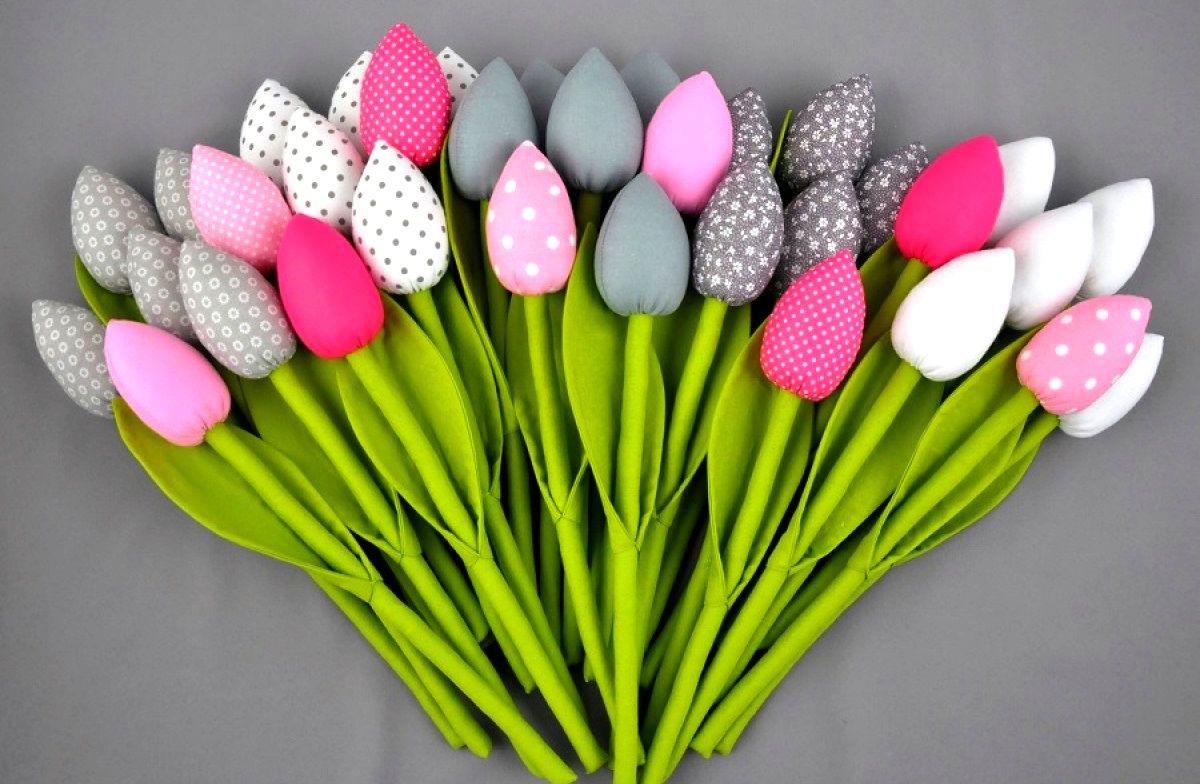 Tulipany Bawelniane Szyte Hand Made Decor Diy