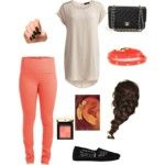 girly peach, summer/spring, cute, outfit