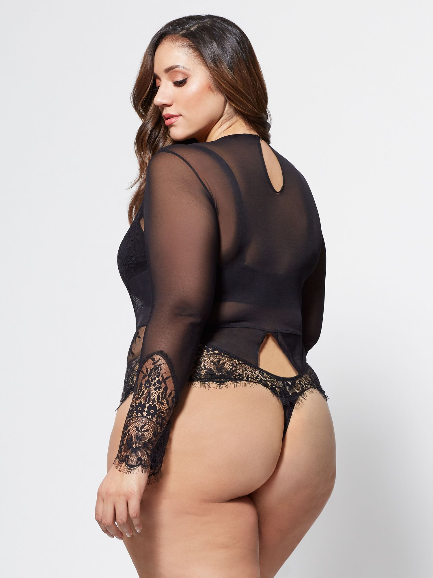 739a51c7463 Erica Lauren showing off her curves in this FTF Aryn Lace Bodysuit ...