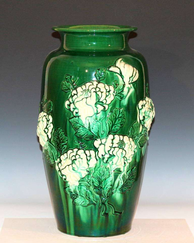 For Sale On 1stdibs Large Awaji Pottery Vase With Sprigged Chrysanthemums And Green And White Glazes Circa 1930 Measures Antique Vase Vase Vases For Sale