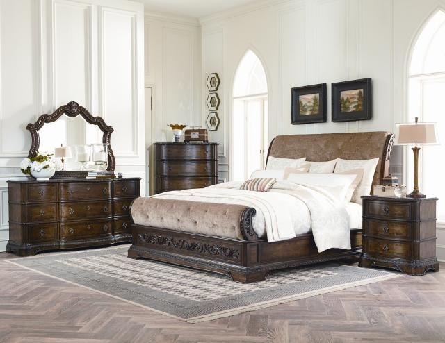 Pemberleigh Walnut 5pc Bedroom Sets W Cal King Upholstered Sleigh