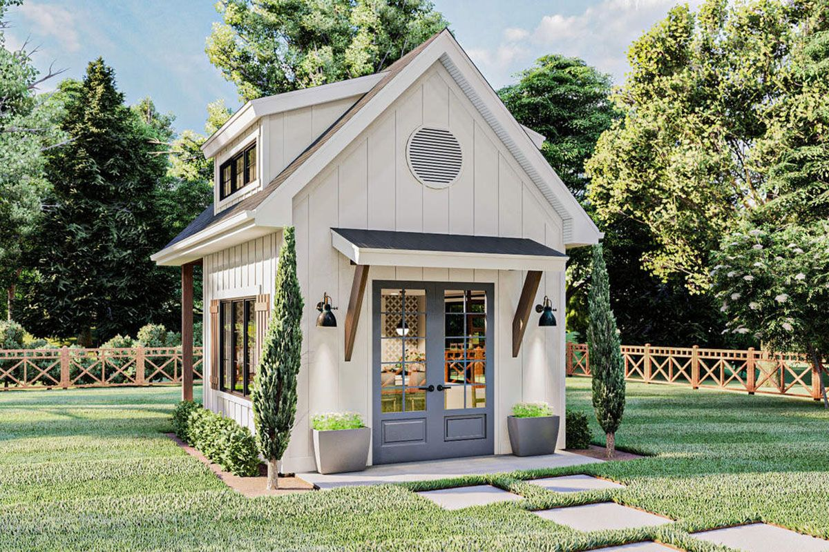 Plan 62925dj Modern Farmhouse Backyard Office Plan With Loft Backyard Office House Exterior Farmhouse Sheds Modern farmhouse backyard office plan with loft