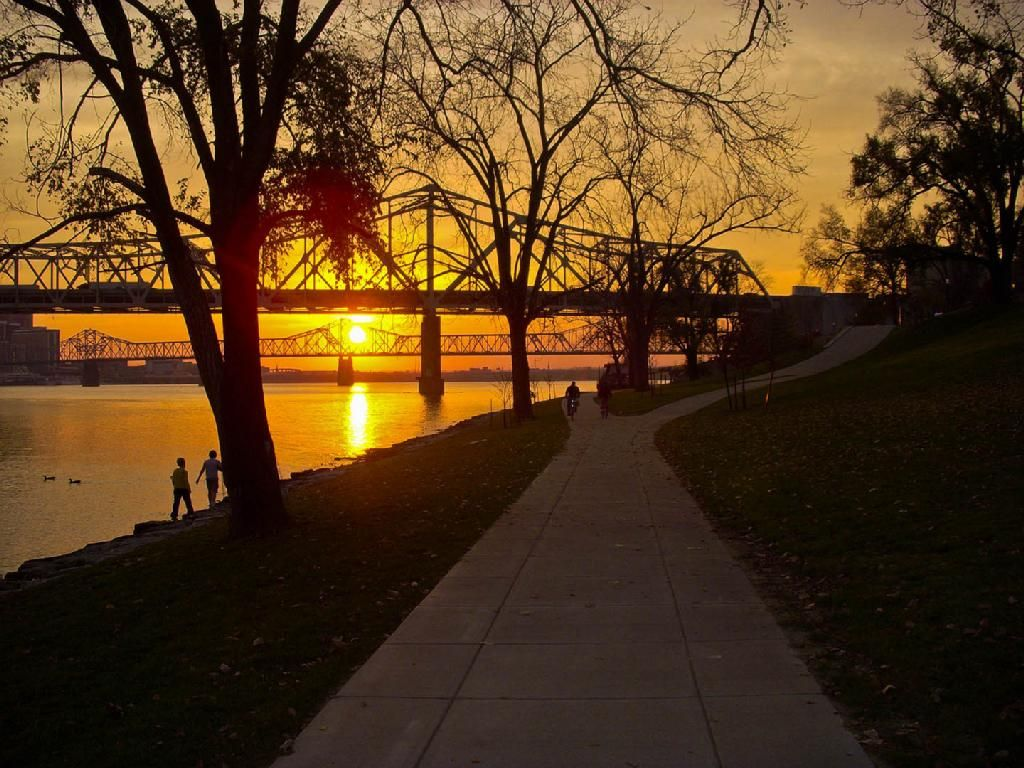 Ohio river greenway sunset in clark county indiana with