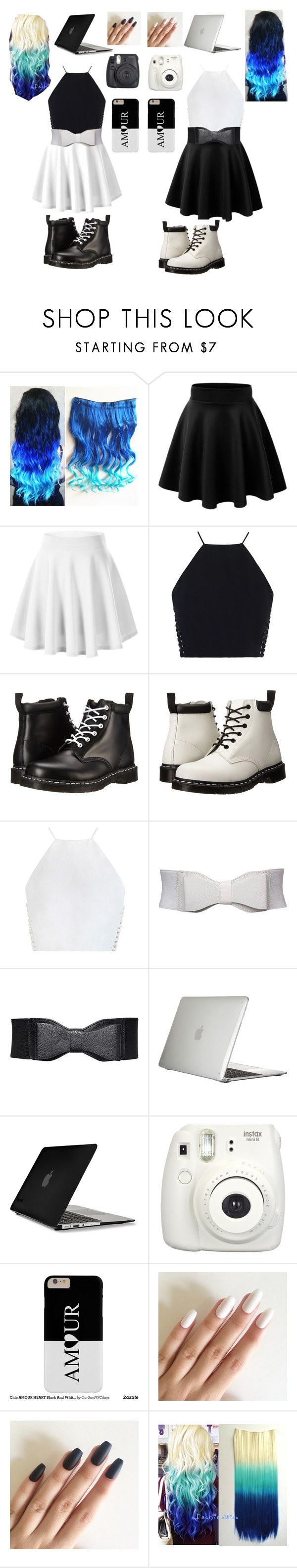 """""""White and black techno besties"""" by rissacoleman ❤ liked on Polyvore featuring Zimmermann, Dr. Martens and Speck"""
