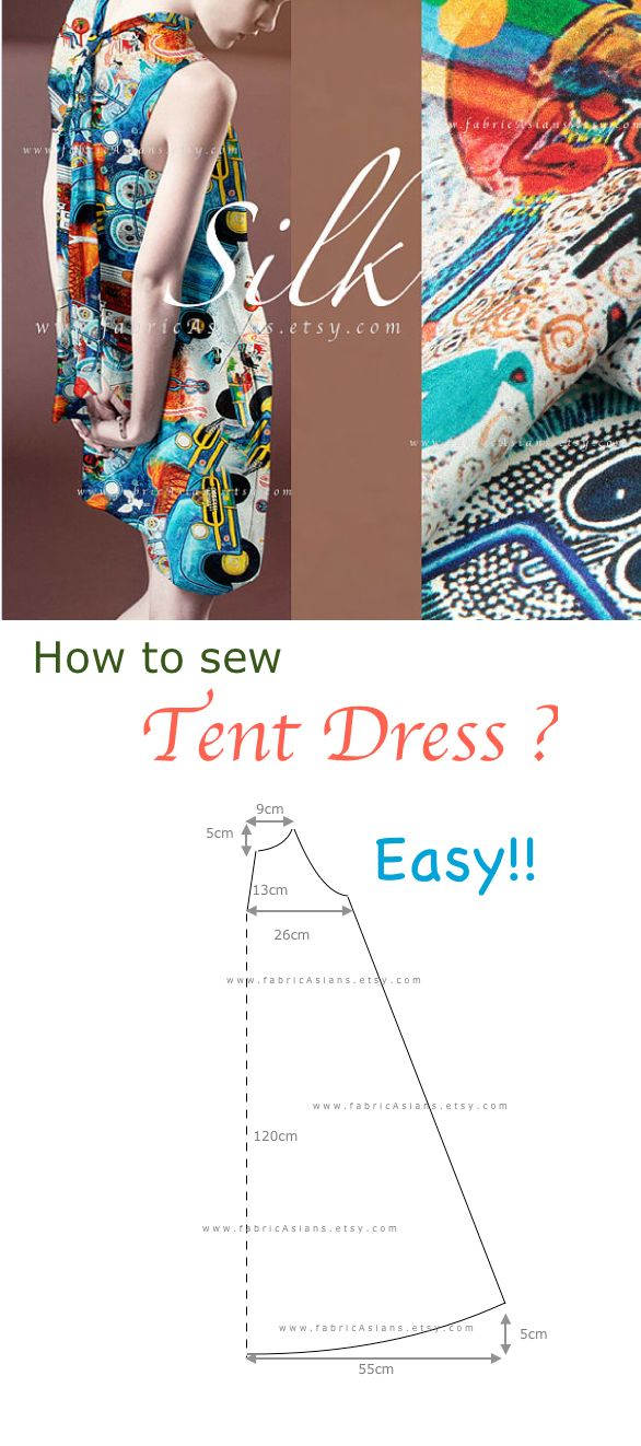 how to sew tent dress ? easy dress pattern PDF free ...