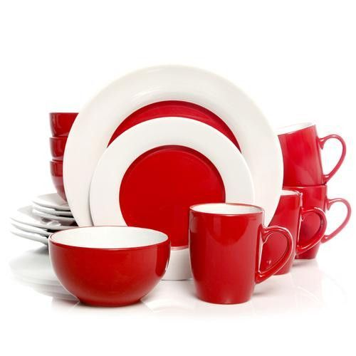 Gibson Home Style Deluxe 16-Piece Dinnerware Set, Red