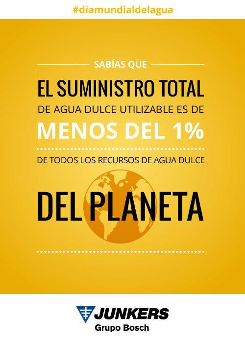 ¿Sabías que el suministro total de agua dulce utilizable es de menos del 1% de todos los recursos de agua dulce del planeta?