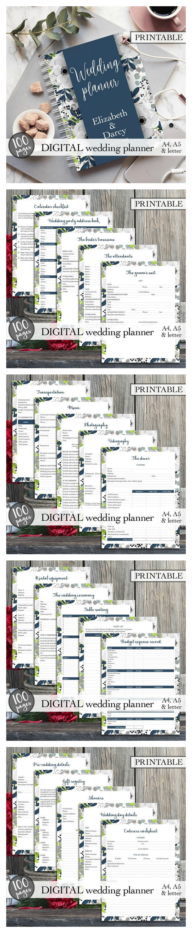 Gorgeous and practical wedding planner to use!! 100 pages of ...