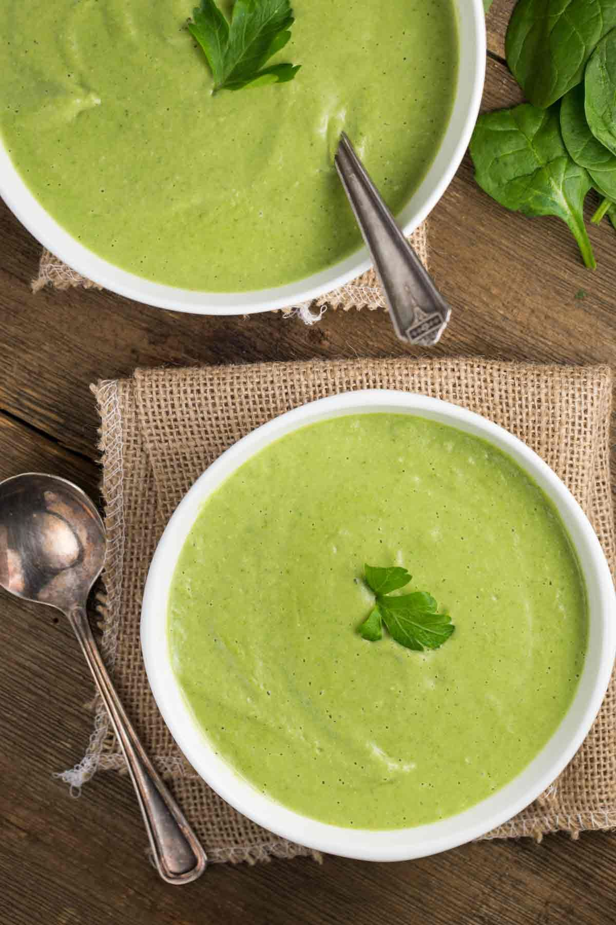 Asparagus Spinach Soup (Vegan, Gluten Free) #spinachsoup