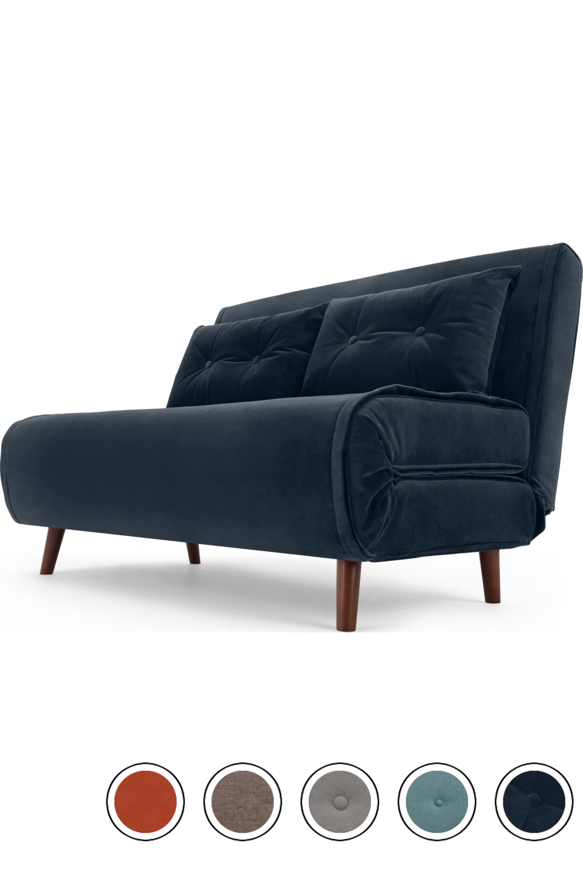 Haru Small Sofa Bed Sapphire Blue Velvet Small Sofa Bed Small Sofa Sofa Bed For Small Spaces