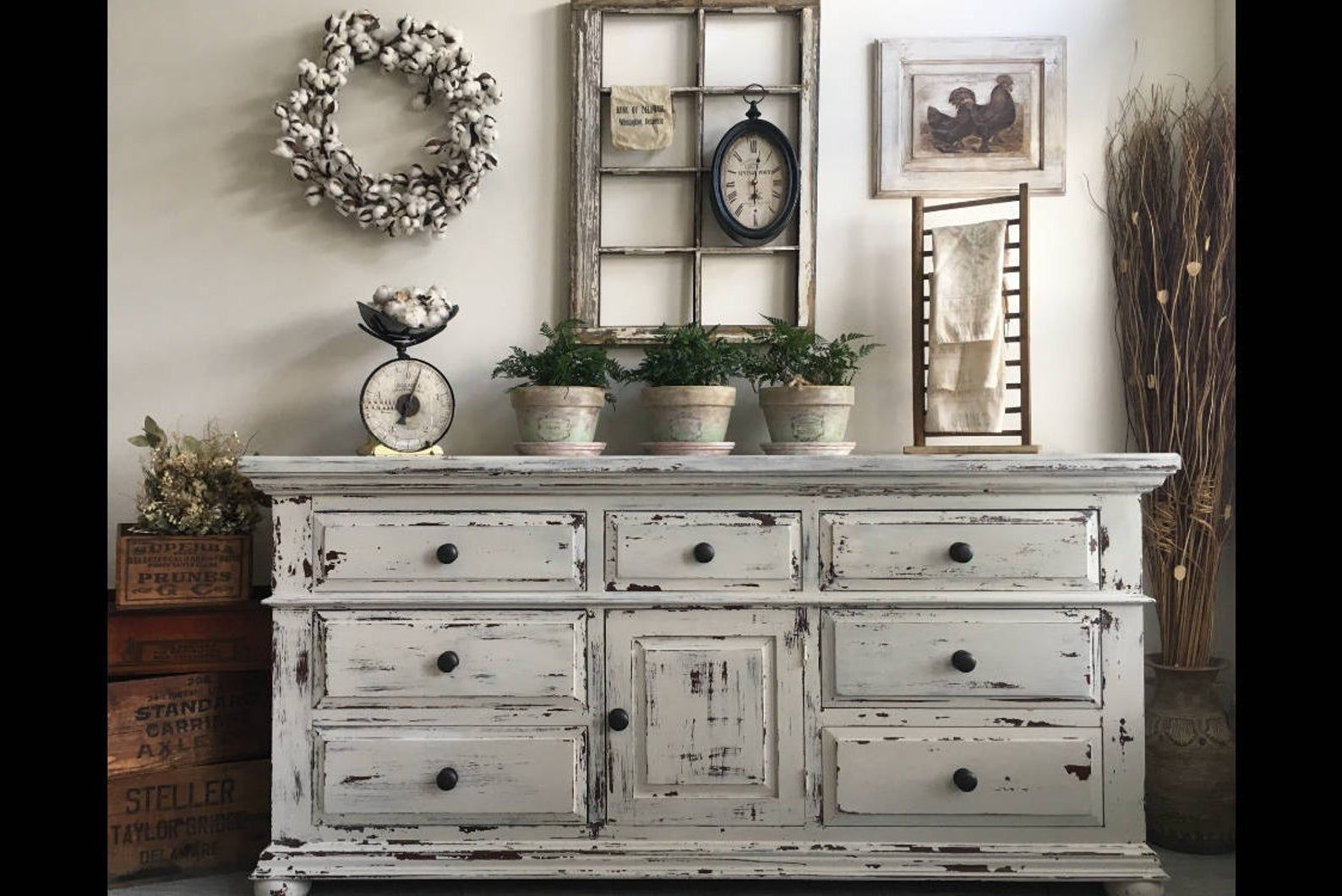 Sold Large Farmhouse 9 Drawer Dresser Or Buffet Made By Broyhill Chippy White Distressed Furniture In 2020 White Distressed Furniture Shabby Chic Kitchen Cabinets Shabby Chic Furniture