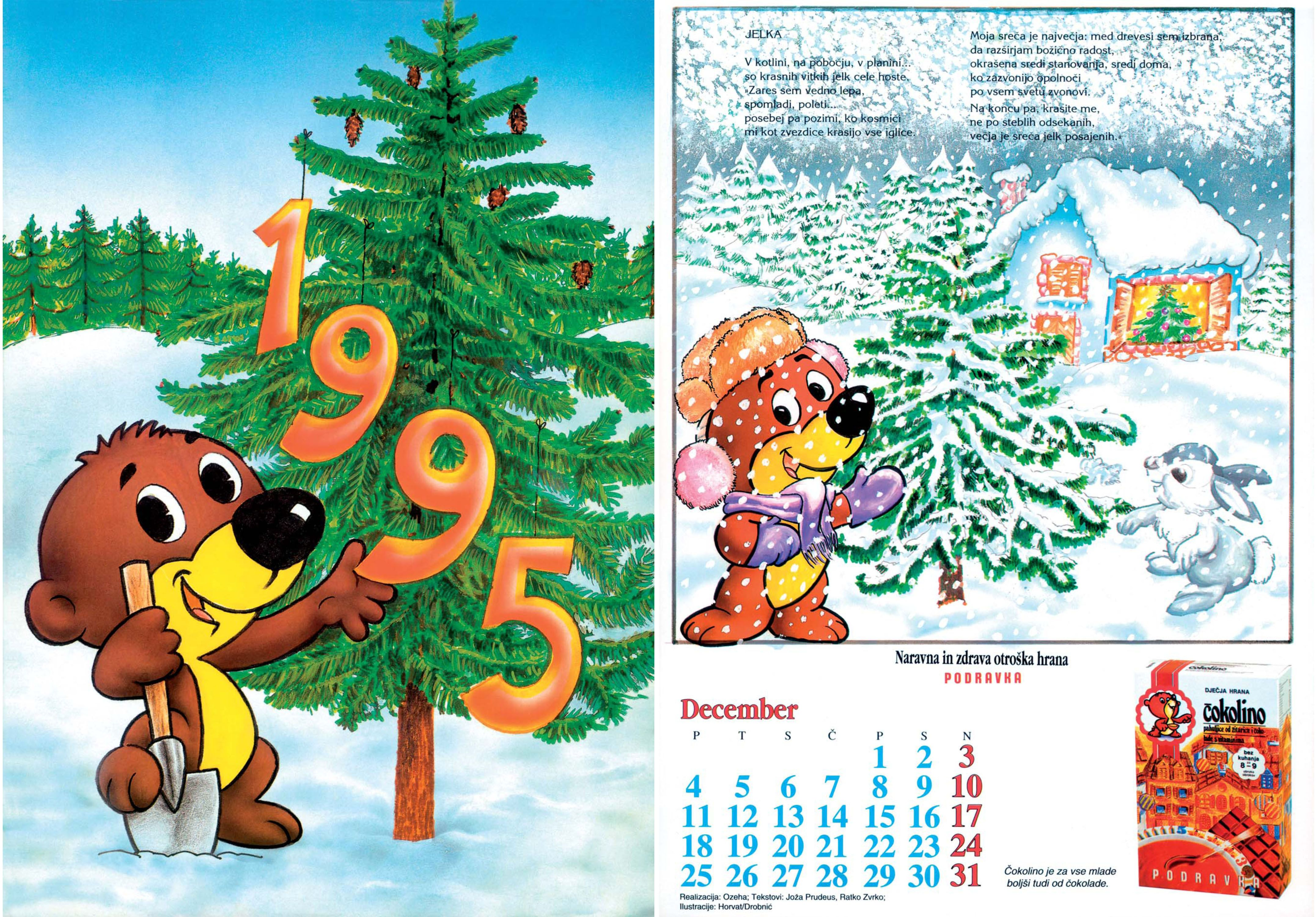 Kids Calendar For Baby Food Brand Of Podravka 1995 Texts Joza