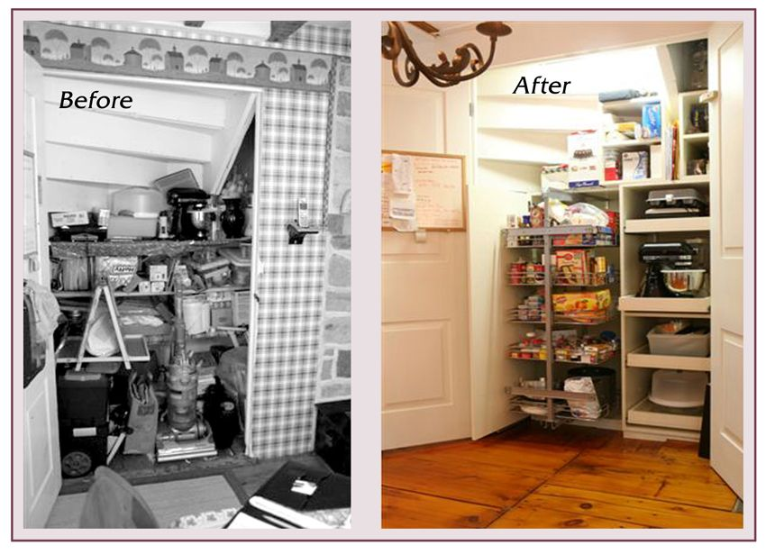 before and after photos of a small kitchen pantry organizing system installed by closet city in on kitchen organization before and after id=46766
