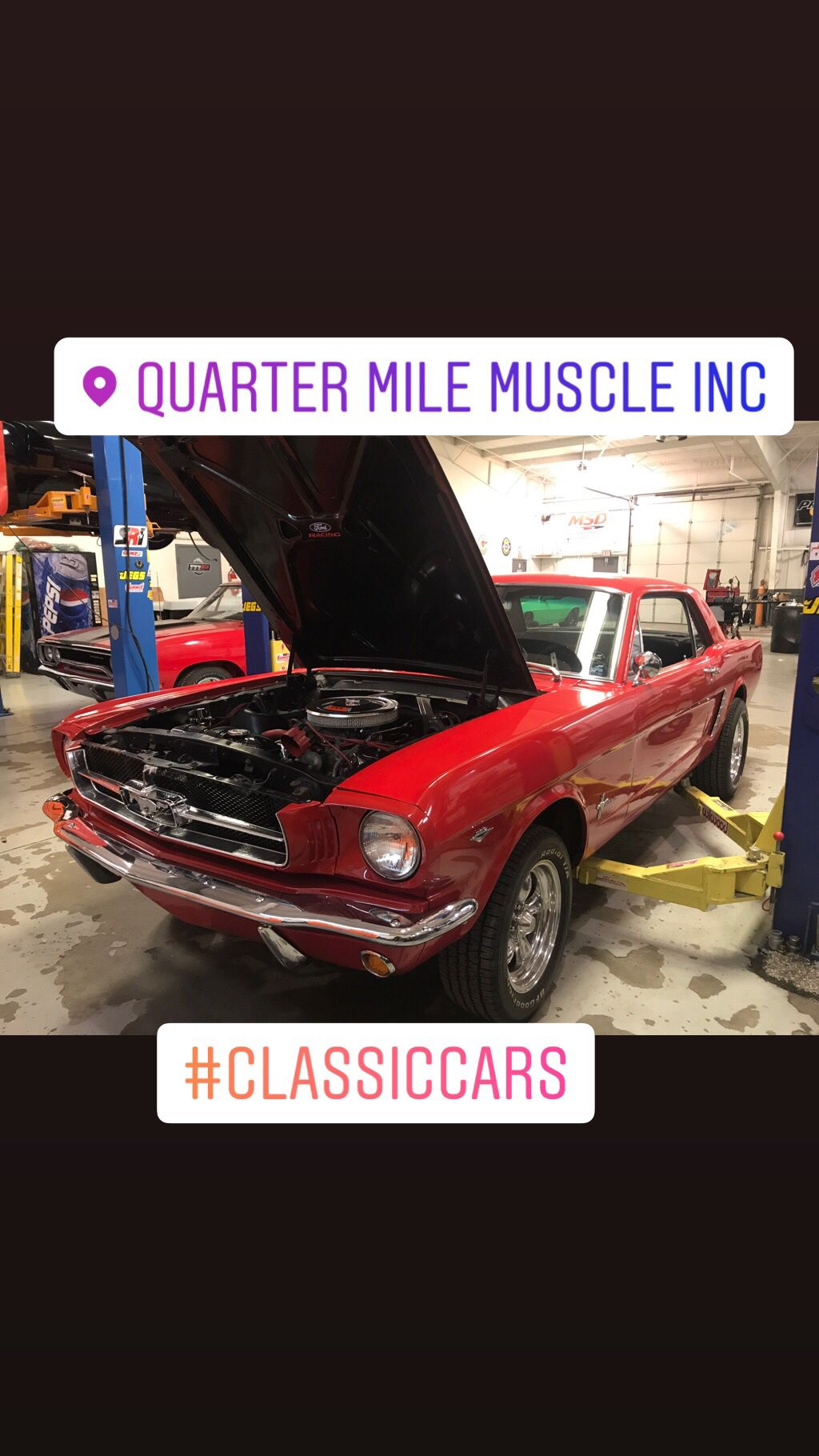 Here Is A 1964 Ford Mustang At Quarter Mile Muscle Getting Some Upgrades To Make This Car More Enjoyable T Classic Car Restoration Classic Mustang Muscle