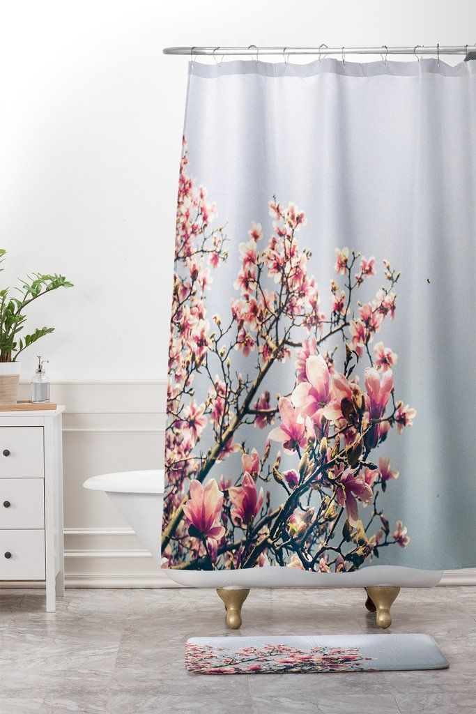 Olivia St Claire Pink Magnolia Shower Curtain And Mat