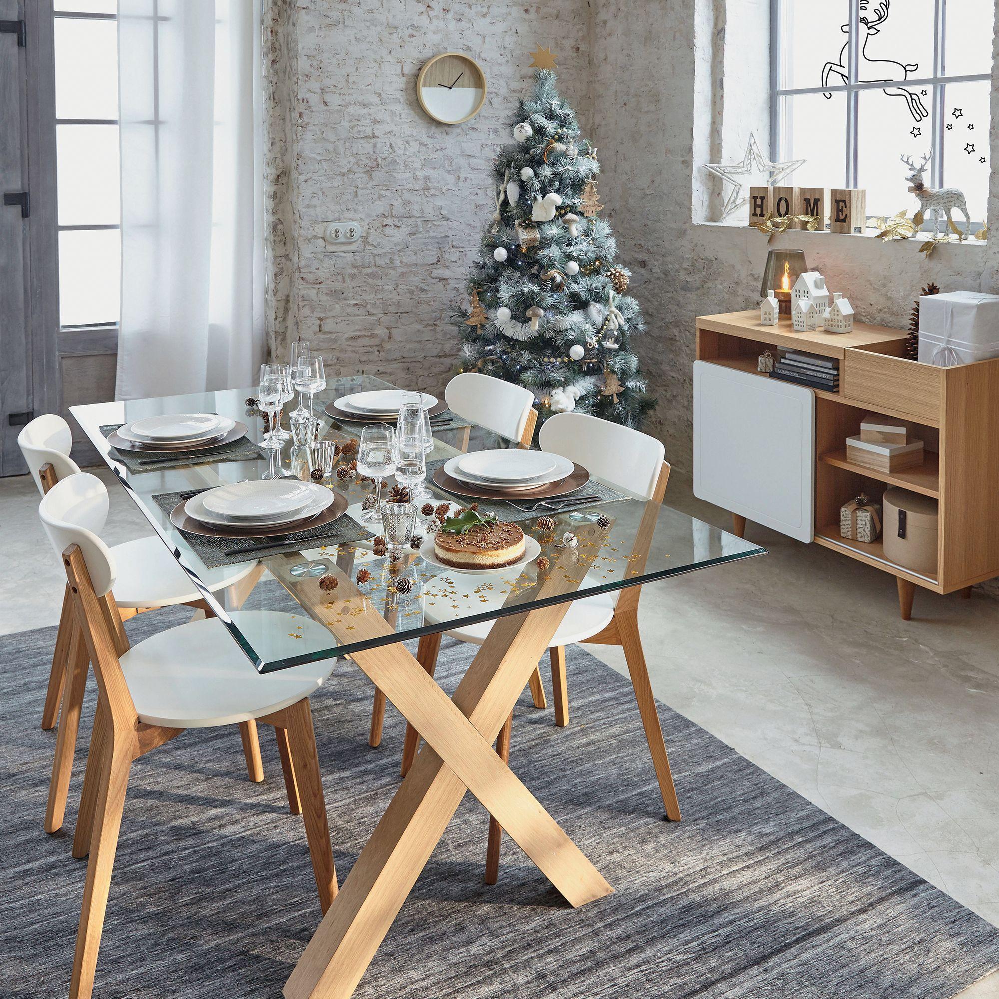 Petit Buffet Placage Chêne Finition Laqué Blanc Nyla Alinea - Table laque blanc alinea pour idees de deco de cuisine