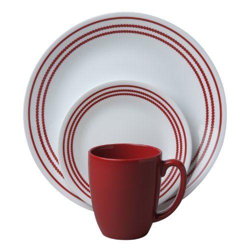 Amazon.com Corelle Livingware 16-Piece Dinnerware Set Service for 4 Classic Cafe Red Corelle Cereal Bowls Kitchen \u0026 Dining  sc 1 st  Pinterest & Corelle Livingware 16-Piece Dinnerware Set Ruby Red Service for 4 ...