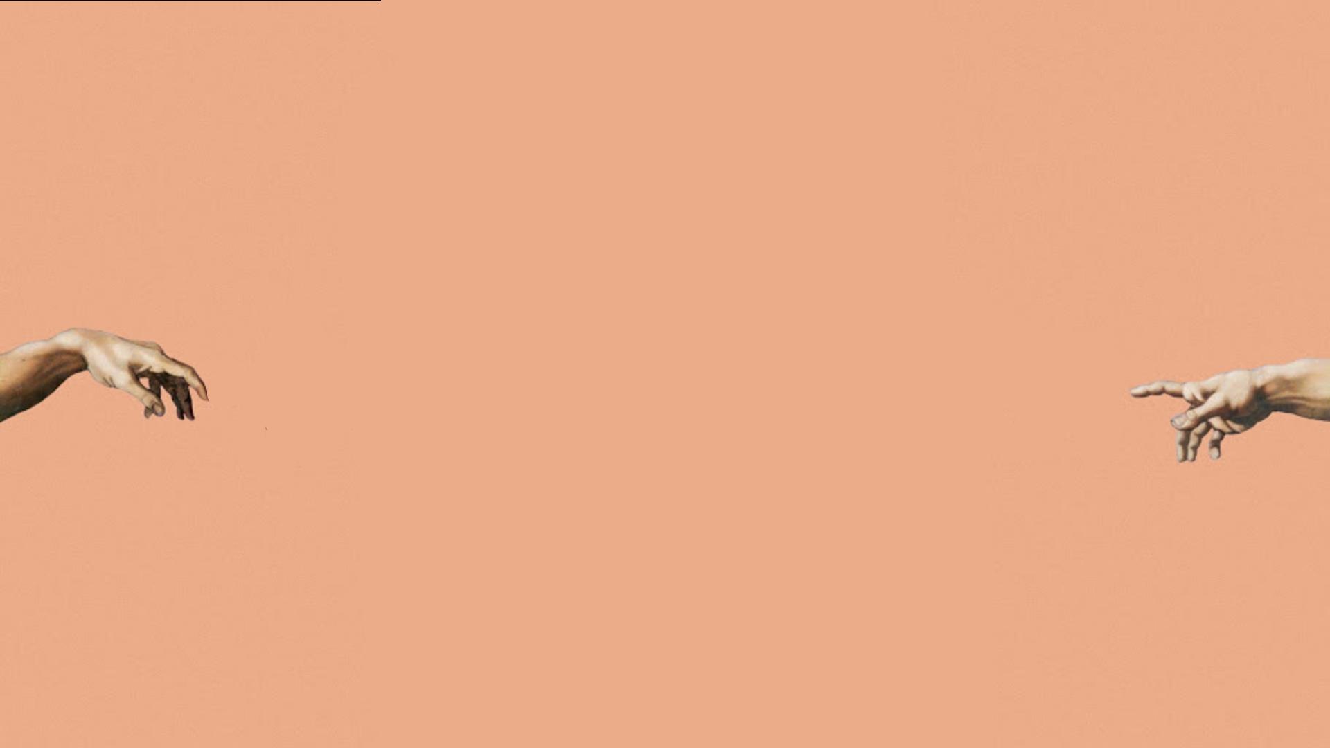 Pink Aesthetic Desktop Wallpaper Adam And God Fingers Trendy Backgrounds Peach Aesthetic Desktop Wallpaper Minimalist Desktop Wallpaper Cute Desktop Wallpaper