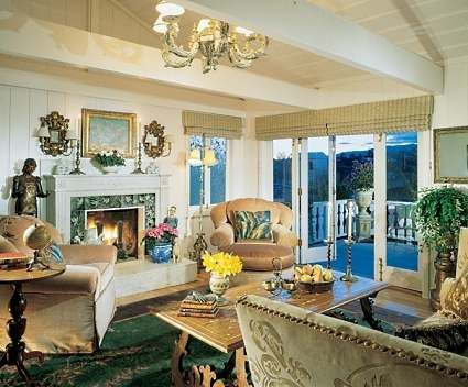 Tiled Living Room Fireplace Surround In Santa Monica Home Of
