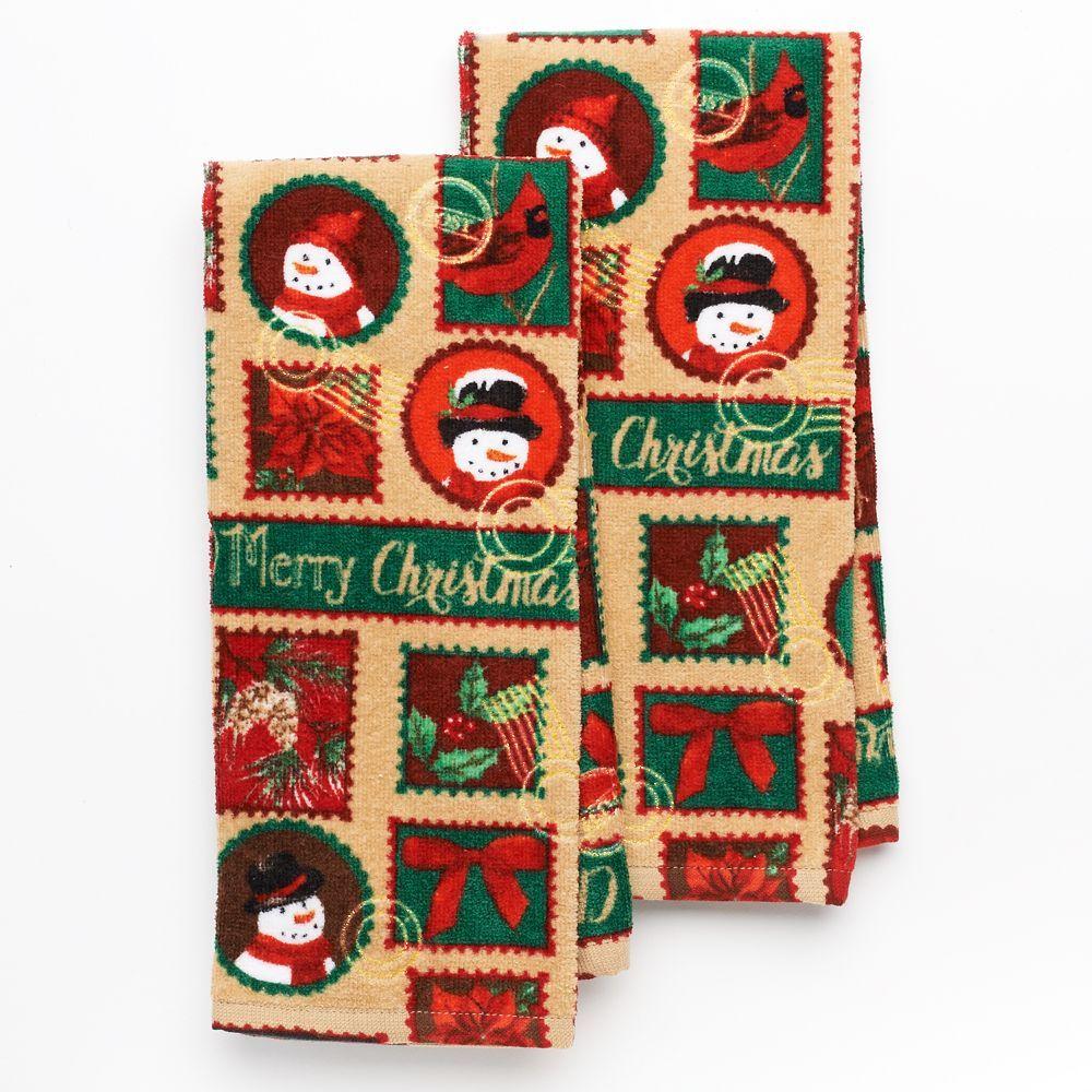 St Nicholas Square 2 Pc Holiday Stamps Kitchen Towel Set
