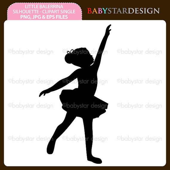 Set of 6 Cute Ballerinas Little Dancer Balet Bale Ballerina Silhouettes Colorful