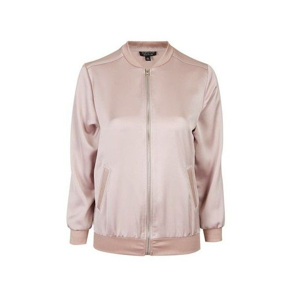 cf9269f18 TopShop Satin Bomber Jacket ($65) ❤ liked on Polyvore featuring ...
