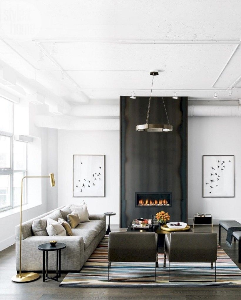 42 Industrial Style Living Room Design Ideas | Lounge decor, Marble ...