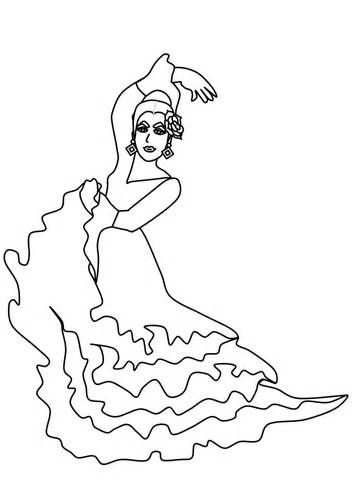 Colouring Page Tags Flamenco Dancer Colouring Page Spanish Dancer