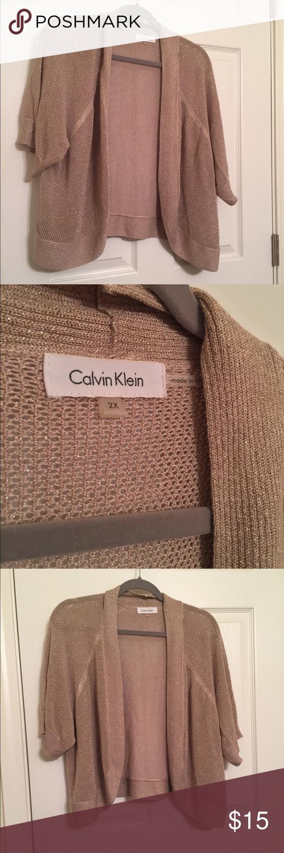Calvin Klein gold shrug/open cardigan Size 2X Calvin Klein Sweaters Cardigans