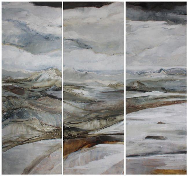 © Caroline Rannersberger ~ Sunset Bay towards Hartz ~ 2013 oil on Belgian linen at Tim Olsen Gallery Sydney Australia