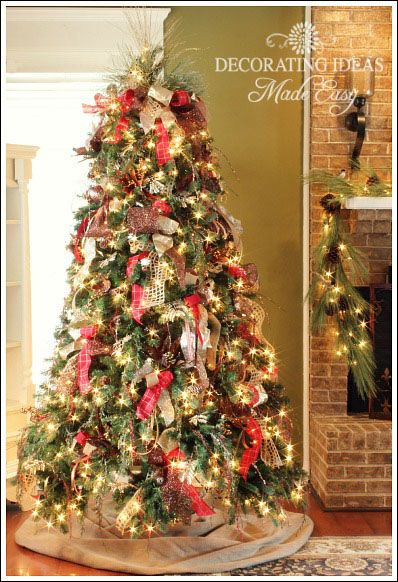 How To Decorate A Christmas Tree With Only Ribbon And Greenery  - Pictures Of Christmas Trees Decorated With Ribbon