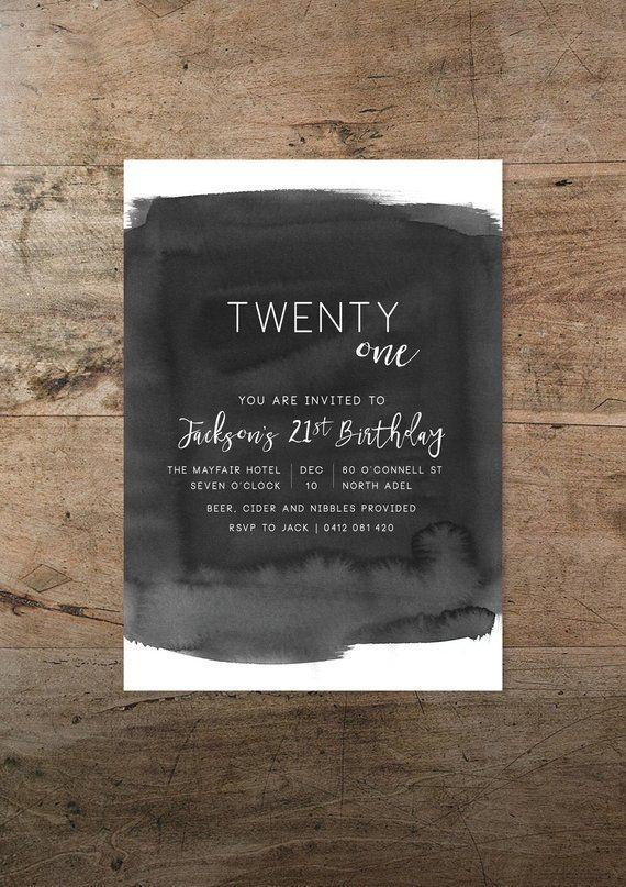 Male Birthday Invitation Printable 21st Invitations