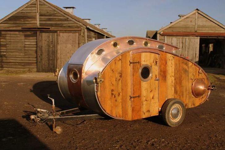 dave moult, teardrop trailer, steampunk, 19th century design