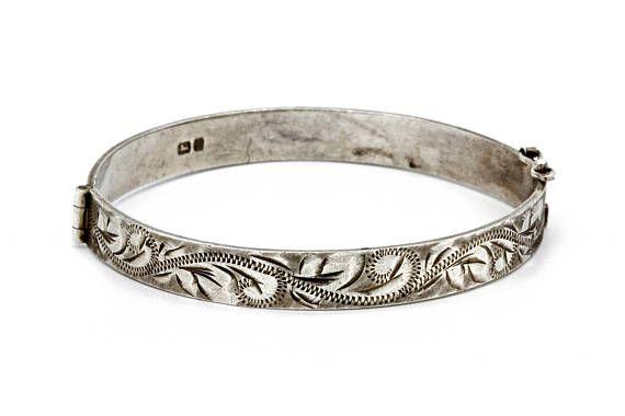 Tribal Artisan Lotus Sterling 925 Silver Bracelet Bangle Hinged Cuff Women Gift