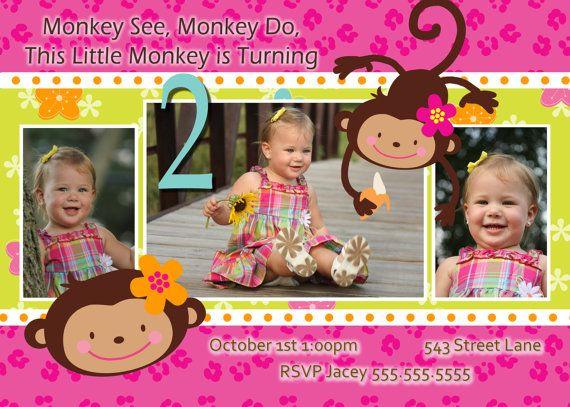 Birthday Invitations 2 Year Old Monkey Love Invite Girl Invitation Cards