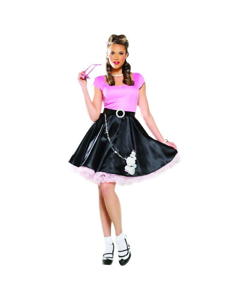 Sexy Adult Halloween 50s Sweetheart Poodle Skirt Girl Costume