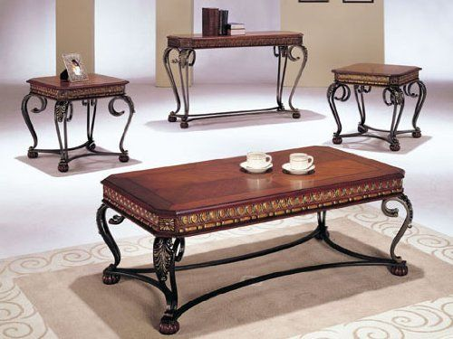 """Carmel Design Coffee Table Set in Cherry Finish Acs70743 70744 by click 2 go. $959.99. sofa table:48""""18""""x30""""H. cherry finish. 2011 Carmel Design Coffee Table Set. 1coffee table, 2 end table with 1 sofa table. coffee table:48""""x26'x18""""H end table:24""""x22""""x22""""H. some assembly maybe required."""