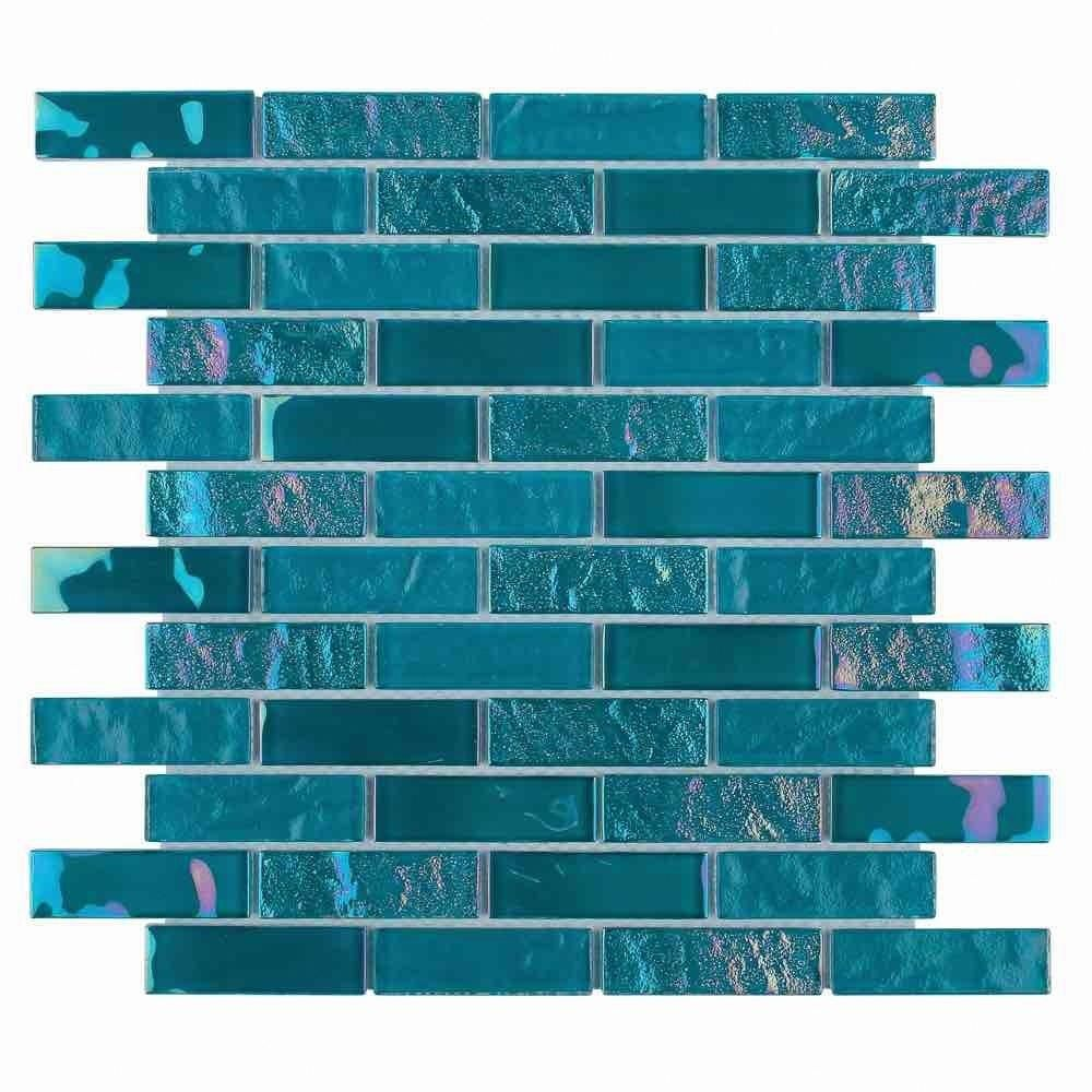 Iridescent Glass Tile Summer Turquoise 1 X 3 Iridescent Glass Tiles Glass Tile Iridescent Glass