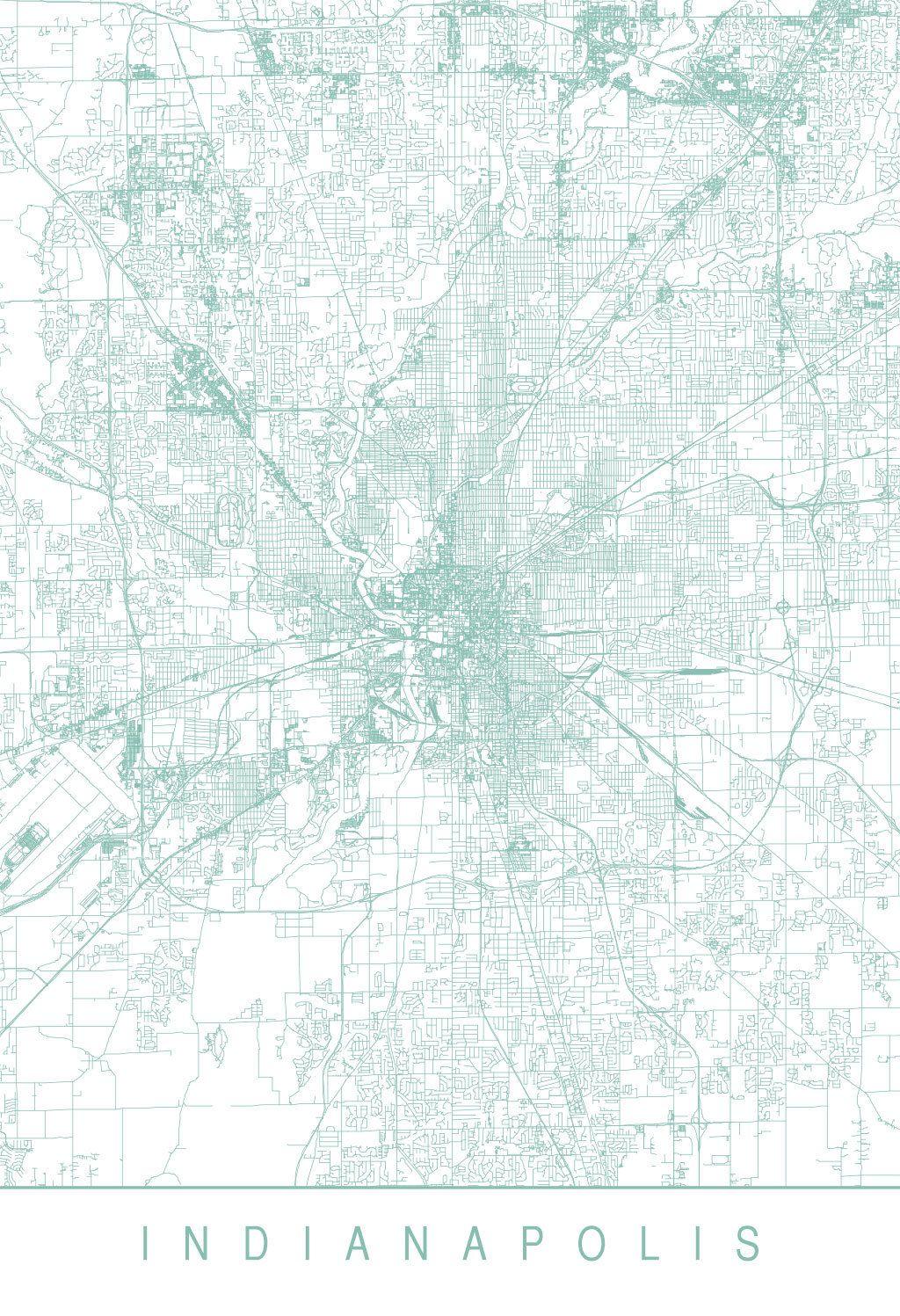 Karte / Map ~ Indianapolis, Indiana - Vereinigte Staaten von ...