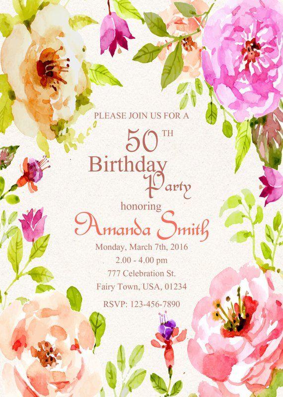 50th Birthday Invitation 50th Birthday Invitation For Women