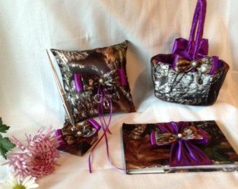 Purple Realtree Camouflage Pajamas | Camo And Purple Satin Wedding Set    Ring Bearers Pillow, Flower Girls .