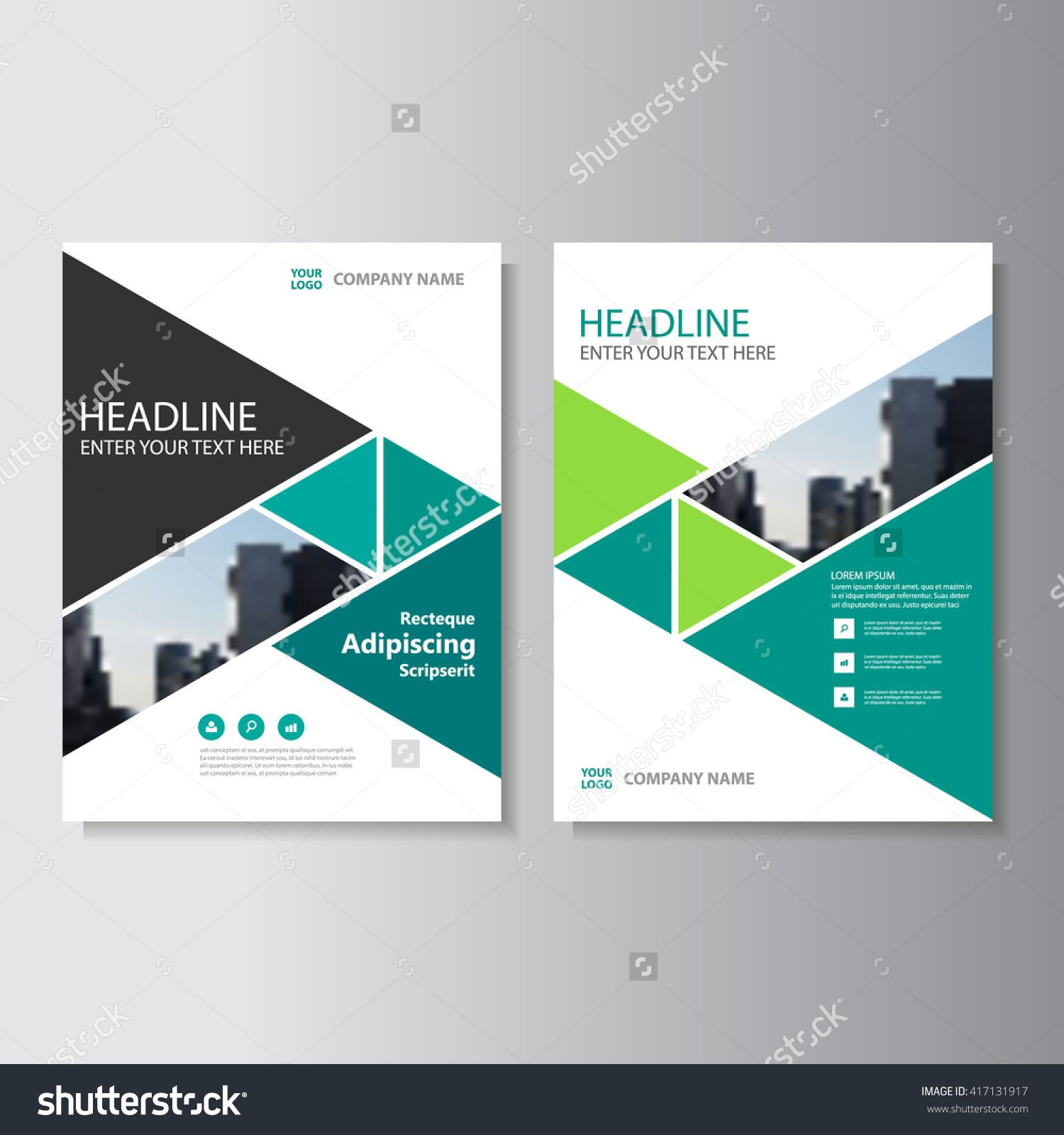 Green Triangle Vector Annual Report Leaflet Brochure Flyer - Brochure flyer templates