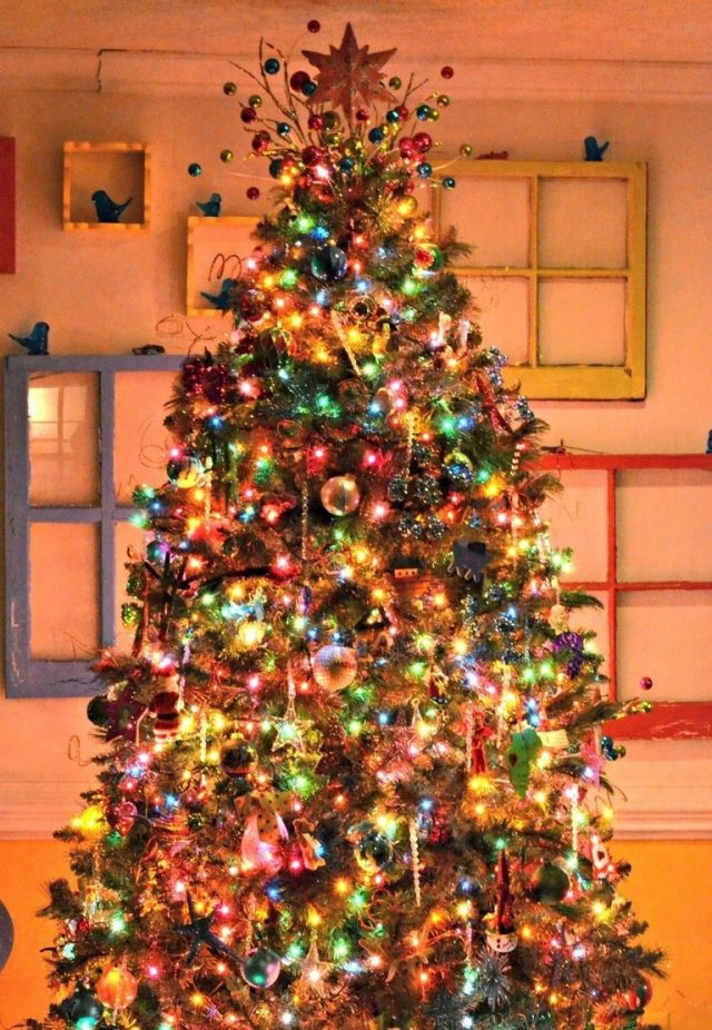 9 Amazing Winter Tree Lights Decoration Ideas Christmas Tree With Coloured Lights Pretty Christmas Trees Christmas Tree Colored Lights