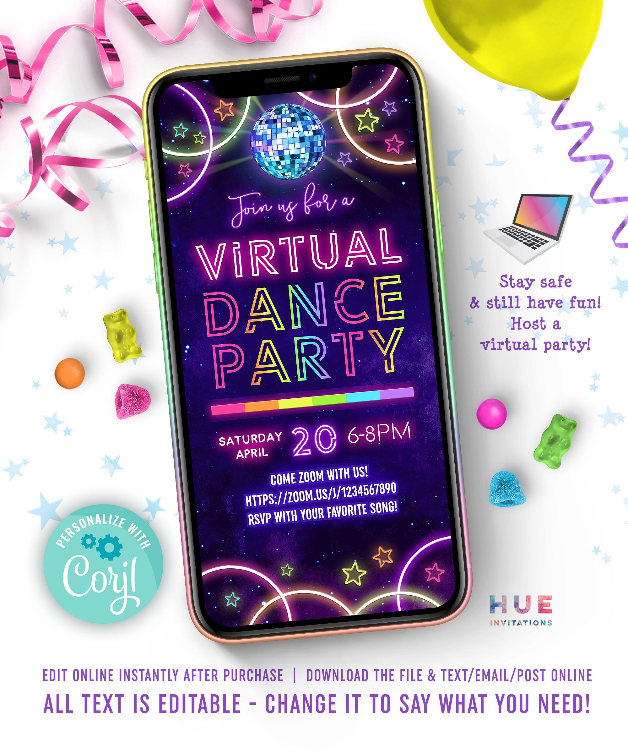 Virtual Dance Party Invitation Zoom Party Video Chat Dance Etsy In 2020 Virtual Party Dance Party Invitations Party Invitations