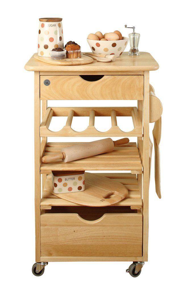T&G - Mobiletto da cucina con rotelle in legno di evea: Amazon.it ...