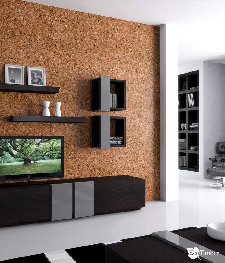 Cork Wall Tile, cork wall with black furniture Decoração