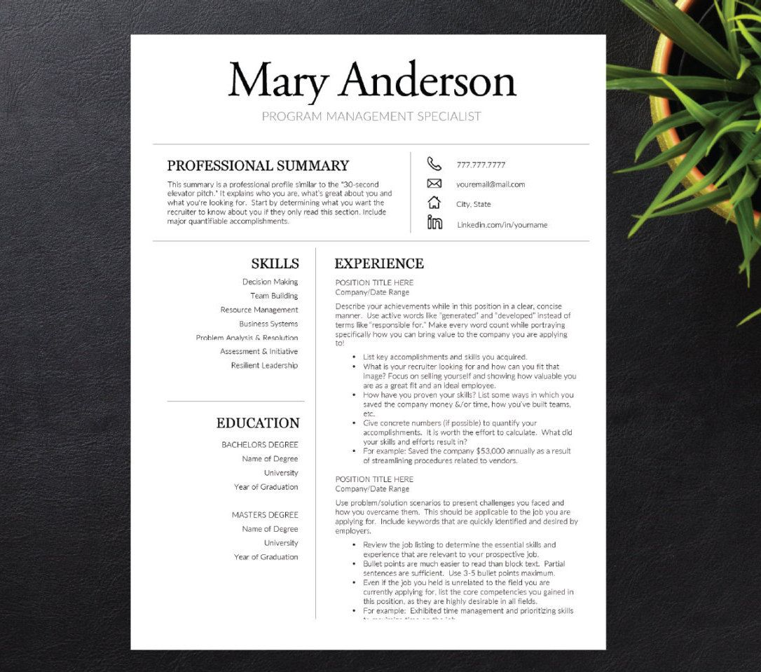 Resume Template for Word and Pages ( 1, 2, 3 page Resume included ...