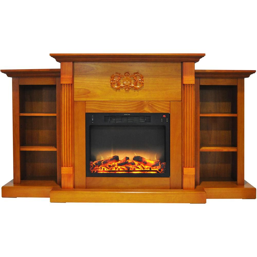 Cambridge Sanoma 72 In Electric Fireplace In Teak With Built In