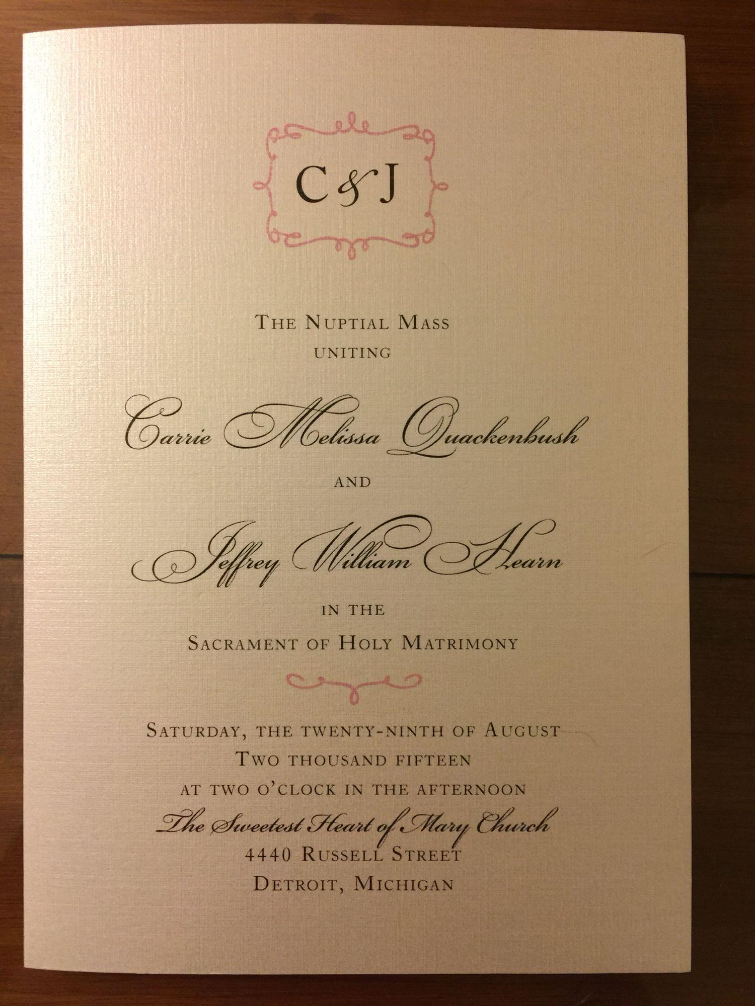 Catholic Wedding Program Cover Nuptial Mass Detroit Sweetest Heart Of Mary: Catholic Wedding Invitation Cards At Reisefeber.org